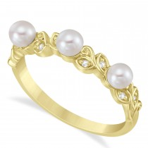 Pearl & Diamond Leaf Pattern Stackable Ring 14k Yellow Gold (3.50 mm)