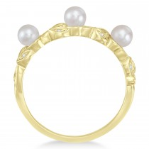 Pearl & Diamond Leaf Pattern Stackable Ring 14k Yellow Gold (3.50 mm)|escape