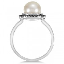 Freshwater Pearl Ring w/ White & Black Diamond Halo 14k White Gold 0.25ct