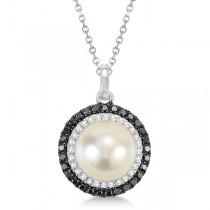 Freshwater Pearl Halo Pendant with Black Diamonds 14K White Gold 0.50cw