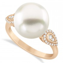 South Sea Pearl & Diamond Ring 14k Rose Gold (12.00mm)