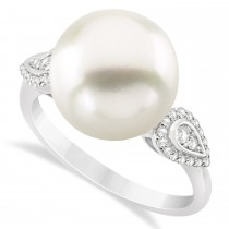 South Sea Pearl & Diamond Ring 14k White Gold (12.00mm)