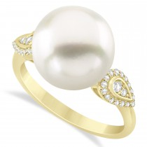 South Sea Pearl & Diamond Ring 14k Yellow Gold (12.00mm)