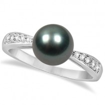Diamond and Cultured Tahitian Pearl Ring 14K White Gold (8mm)