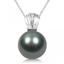 Solitaire Cultured Tahitian Pearl & Diamond Drop 14K White Gold (11mm)