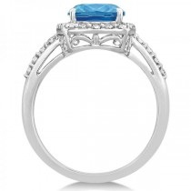 Diamond & Swiss Blue Topaz Halo Ring 14k White Gold (3.57ct)