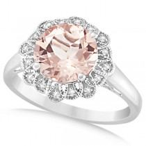 Morganite Engagement Ring Diamond Accents 14k White Gold 2.78ct