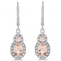 Morganite Drop Earrings Diamond Accented 14k White Gold (2.54ct)