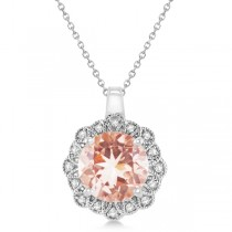 Morganite Pendant Necklace Diamond Accents 14k White Gold (2.78ct)