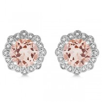 Morganite Stud Earrings with Diamond Accents 14k White Gold (3.53ct)
