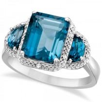 Diamond Three Stone London Blue Topaz Ring in 14k White Gold (4.51ct)