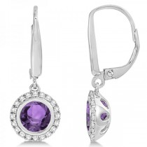Halo Diamond & Bezel Set Amethyst Earrings 14k White Gold (1.66ct)