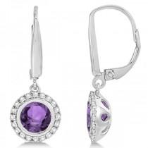 Halo Diamond & Bezel Set Amethyst Earrings 14k White Gold (1.66ct)