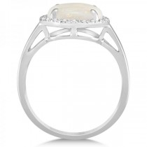 Diamond Accented Halo Opal Engagement Ring in 14k White Gold (2.07ct)|escape