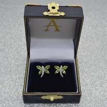 Diamond and Peridot Dragonfly Earrings 14k White Gold (2.44ct)|escape