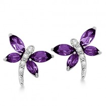Diamond and Amethyst Dragonfly Earrings 14k White Gold (1.64ct)