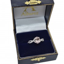 Oval Cut Morganite Engagement Ring with Diamonds 14k White Gold 1.34ct