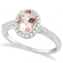 Oval Morganite Engagement Ring with Diamond Halo 14k White Gold 1.50ct