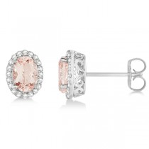 Oval Cut Morganite Stud Earrings Diamond Halo 14k White Gold (1.86ct)