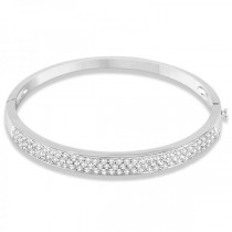 Diamond Pave Set Bangle Bracelet 14k White Gold (3.00ct)