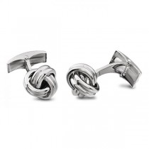 Men's Love Knots Cufflinks in Solid 14k White Gold