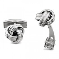 Men's Love Knots Cufflinks in Solid 14k White Gold