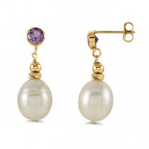 Oval Freshwater Pearl & Amethyst Drop Earrings 14k Yellow Gold 0.40ct