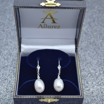 Cultured Freshwater Oval Shaped Pearl Drop Earrings Sterling Silver