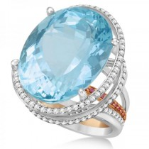 Diamond & Aquamarine Engagement Ring Platinum & 18k Rose Gold (9.63ct)