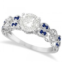 Diamond Twisted Blue Sapphire Bridal Set in 14k White Gold (1.23ct)