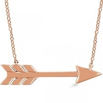 Cupid's Arrow Pendant Necklace Plain Metal 14k Rose Gold