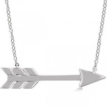 Cupid's Arrow Pendant Necklace Plain Metal 14k White Gold