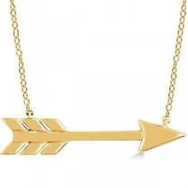 Cupid's Arrow Pendant Necklace Plain Metal 14k Yellow Gold