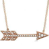 Cupid's Arrow Pendant Necklace Diamond Accented 14k Rose Gold 0.11ct