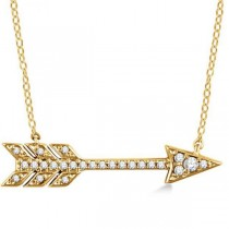 Cupid's Arrow Pendant Necklace Diamond Accented 14k Yellow Gold 0.11ct