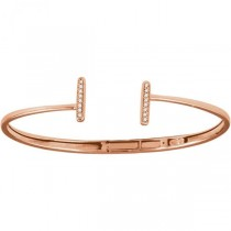 Diamond Accented Bar Hinged Cuff T Bracelet 14k Rose Gold (0.17ct)