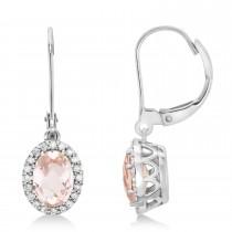 Morganite & Diamond-Accented Drop Earrings 14k White Gold (1.92ct)