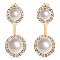 Freshwater Pearl & Diamond Earrings 14k Rose Gold (4.0-5.3mm)