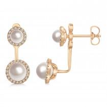 Freshwater Pearl & Diamond Earrings 14k Rose Gold (4.0-5.3mm)|escape