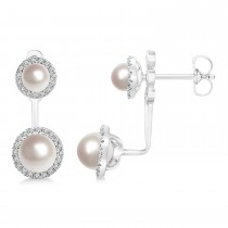 Freshwater Pearl & Diamond Earrings 14k White Gold (4.0-5.3mm)