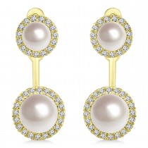 Freshwater Cultured Pearl & Diamond Halo Style Earrings 14k Yellow Gold (4.0-5.3mm)