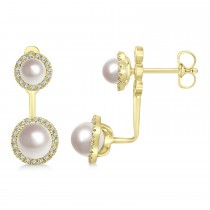 Freshwater Pearl & Diamond Earrings 14k Yellow Gold (4.0-5.3mm)|escape