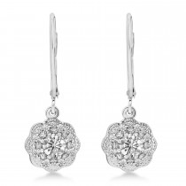 Moissanite and Diamond Leverback Diamond Earrings Floral in 14k White Gold (0.64 ctw)