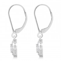 Moissanite & Diamond Leverback Floral Earrings 14k White Gold (0.64 ctw)