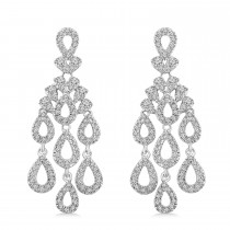 Diamond Chandelier Dangle Earrings 14k White Gold (0.88 ctw)