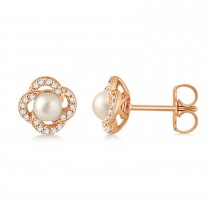 Diamond Accent Halo Cultured Freshwater Pearl Earrings 14k Rose Gold (0.15ct)