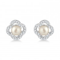 Diamond Accent Halo Cultured Freshwater Pearl Earrings 14k White Gold (0.15ct)