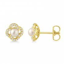 Diamond Accent Halo Cultured Freshwater Pearl Earrings 14k Yellow Gold (0.15ct)