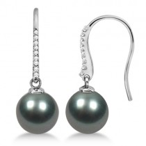 Cultured Tahitian Pearl & Diamond Drop Earrings 14K White Gold (10mm)