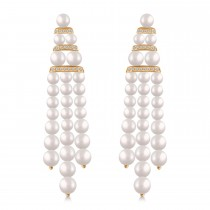 Diamond Accented Cultured Freshwater Pearl Dangle Earrings 14k Rose Gold (0.26ct)
